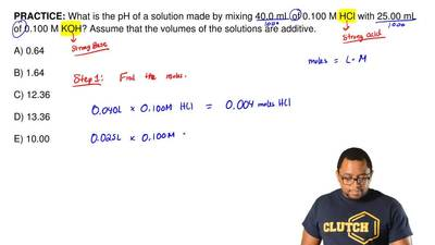 What is the pH of a solution made by mixing 40.0 mL of 0.100 M HCl with 25.00 ...
