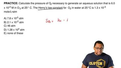Calculate the pressure of O2 necessary to generate an aqueous solution that is...