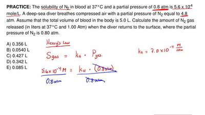 The solubility of N2 in blood at 37°C and a partial pressure of 0.8 atm is 5.6...