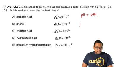 You are asked to go into the lab and prepare a buffer solution with a pH of 6....