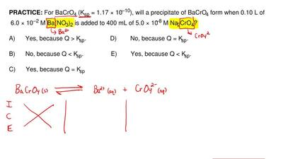 For BaCrO4 (Ksp = 1.17 × 10–10), will a precipitate of BaCrO4 form when 0.10 L...