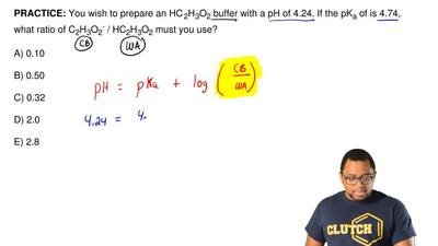 You wish to prepare an HC2H3O2buffer with a pH of 4.24. If the pKaof is 4....