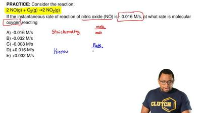 Consider the reaction: 2 NO(g) + O2(g) →2 NO2(g) If the instantaneous rate of ...