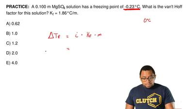 A 0.100 m MgSO4solution has a freezing point of -0.23°C. What is the van't H...