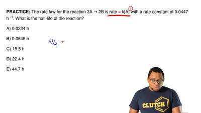 The rate law for the reaction 3A → 2B is rate = k[A] with a rate constant of 0...