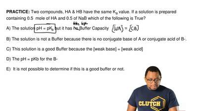 Two compounds, HA & HB have the same K a value. If a solution is prepared ...