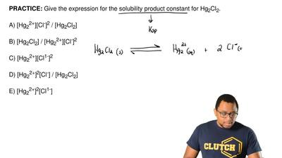 Give the expression for the solubility product constant for Hg2Cl2.  A) [Hg22...