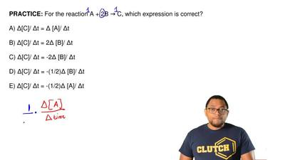For the reaction A + 2B → C, which expression is correct?  A) Δ[C]/ Δt = Δ [A]...