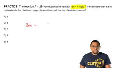 The reaction A + 2B → products has the rate law, rate = k [A][B]3. If the conc...
