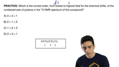 Which is the correct order, from lowest to highest field for the chemical shif...
