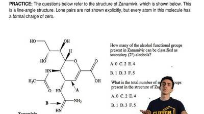 The questions below refer to the structure of Zanamivir, which is shown below....