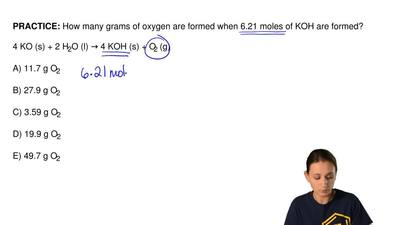 How many grams of oxygen are formed when 6.21 moles of KOH are formed?   4 KO ...