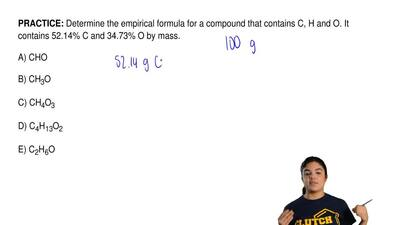 Determine the empirical formula for a compound that contains C, H and O. It co...