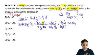 A 4.05 g sample of a compound containing only C, H, and O was burned completel...