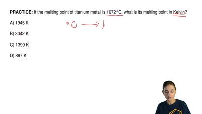 If the melting point of titanium metal is 1672°C, what is its melting point in...