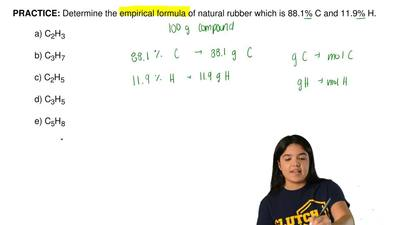 Determine the empirical formula of natural rubber which is 88.1% C and 11.9% H...
