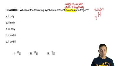 Which of the following symbols represent isotopes of nitrogen?  a. i only  b. ...