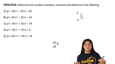 Determine the number of protons, neutrons and electrons in the following:  A) ...