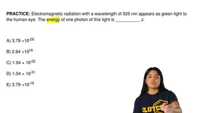 Electromagnetic radiation with a wavelength of 525 nm appears as green light t...
