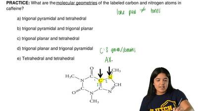 What are the molecular geometries of the labeled carbon and nitrogen atoms in ...