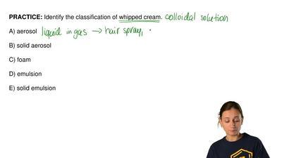 Identify the classification of whipped cream.  A) aerosol  B) solid aerosol  C...