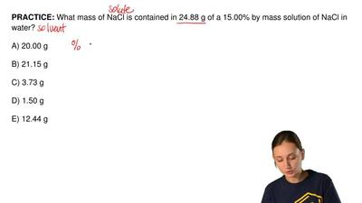 What mass of NaCl is contained in 24.88 g of a 15.00% by mass solution of NaCl...