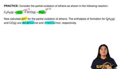 Consider the partial oxidation of ethane as shown in the following reaction:  ...