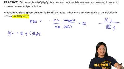 Ethylene glycol (C2H6O2) is a common automobile antifreeze, dissolving in wate...