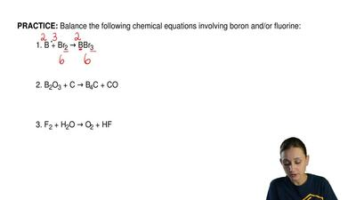 Balance the following chemical equations involving boron and/or fluorine:  1. ...