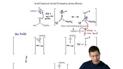 Complete the mechanism for the following acetal formation reaction. Be sure to...