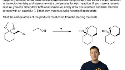 This is a synthesis question. You need to show how the starting material can b...