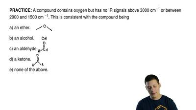 A compound contains oxygen but has no IR signals above 3000 cm –1 or between 2...