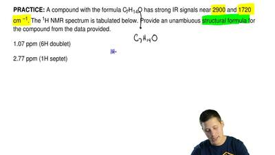A compound with the formula C7H14O has strong IR signals near 2900 and 1720 cm...