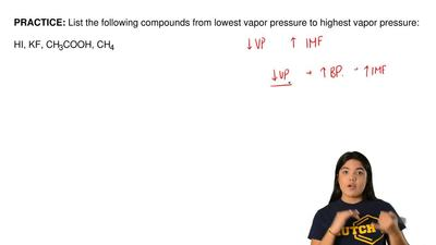 List the following compounds from lowest vapor pressure to highest vapor press...
