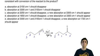 For the following reaction, which of the following change(s) in the IR spectru...