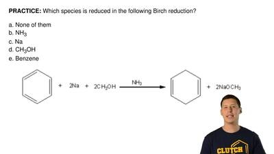 Which species is reduced in the following Birch reduction?  a. None of them b....