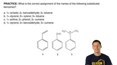 What is the correct assignment of the names of the following substituted benze...