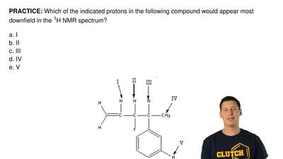Which of the indicated protons in the following compound would appear most dow...