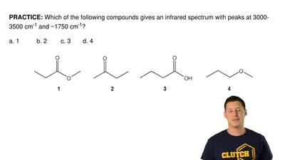Which of the following compounds gives an infrared spectrum with peaks at 3000...