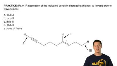 Rank IR absorption of the indicated bonds in decreasing (highest to lowest) or...