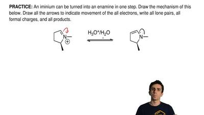 An iminium can be turned into an enamine in one step. Draw the mechanism of th...