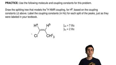 Use the following molecule and coupling constants for this problem.  Draw the ...