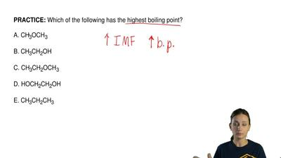 Which of the following has the highest boiling point?  A. CH3OCH3  B. CH3CH2OH...