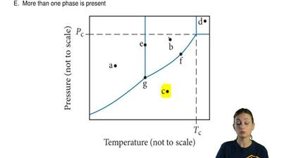 A sample is at the temperature and pressure indicated by point (c) on the phas...