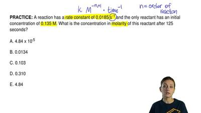 A reaction has a rate constant of 0.0185 s -1 and the only reactant has an ini...
