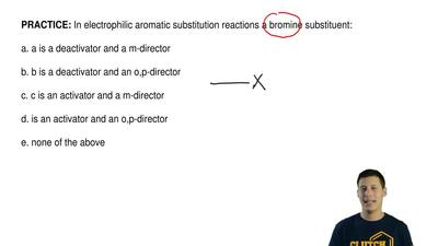 In electrophilic aromatic substitution reactions a bromine substituent:  a. a ...