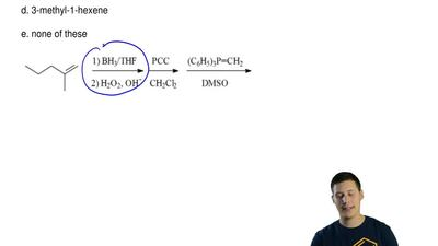 What is the product of the reaction sequence below?  a. 2-methyl-1-hexene  b. ...