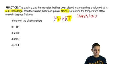 The gas in a gas thermometer that has been placed in an oven has a volume that...
