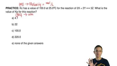 Kc has a value of 100.0 at 25.0 oC for the reaction of 2X + 2Y ⟺ 3Z. What is t...