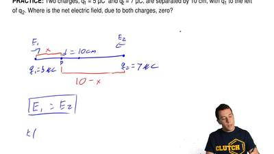 Two charges, q1 = 5 μC  and q 2 = 7 μC, are separated by 10 cm, with q 1 to th...